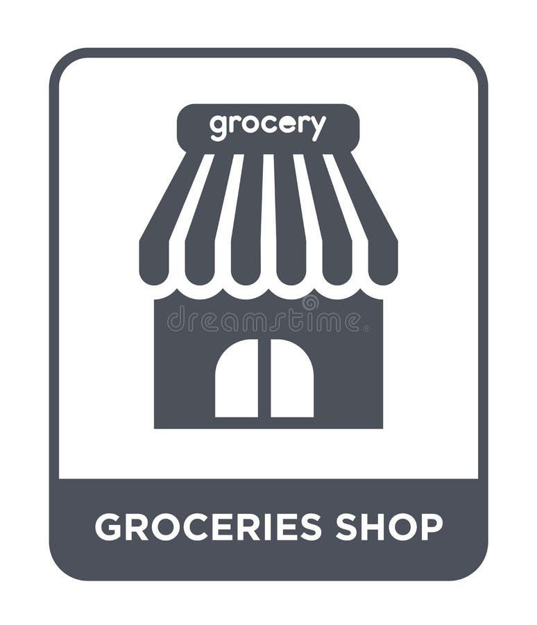 sklepu spożywczego sklepu ikona w modnym projekta stylu sklepu spożywczego sklepu ikona odizolowywająca na białym tle sklepu spoż ilustracja wektor