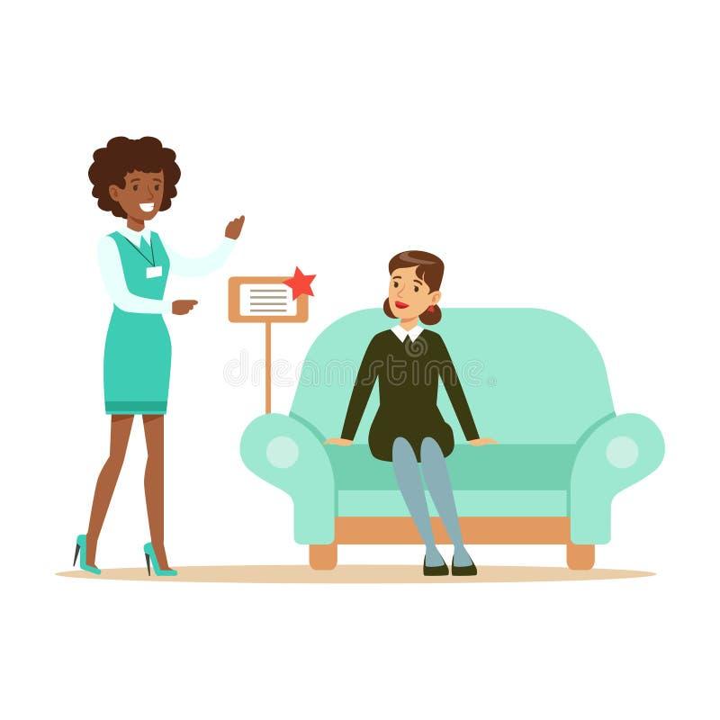 Sklepu sprzedawca Pokazuje Błękitną kanapę kobieta, Uśmiechnięty kupujący W meble sklepu zakupy Dla Domowych wystrojów elementów ilustracji