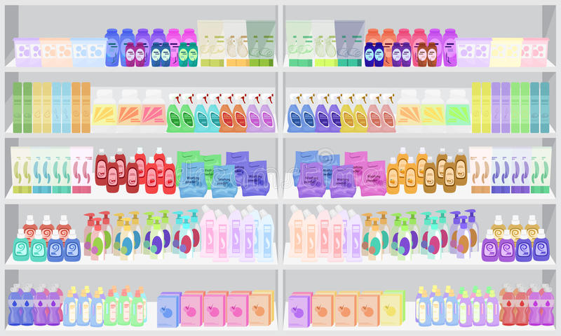 Sklepu supermarket odkłada shelfs z gospodarstwo domowe substancjami chemicznymi ilustracja wektor