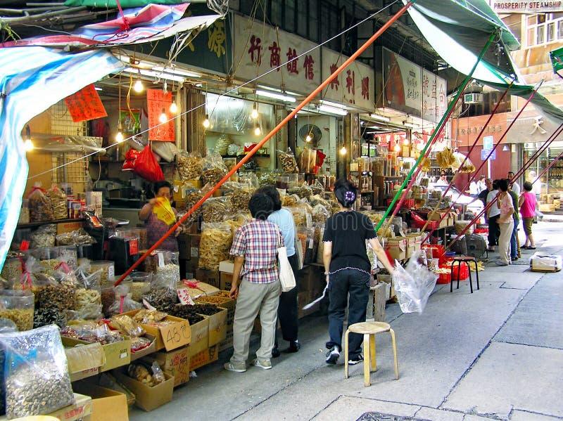 Sklepy dla jedzenia w Sheung Bladym okręgu na Hong Kong wyspie zdjęcia stock