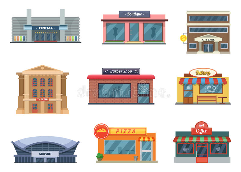 Sklepy, miejscy budynki, mini sklepy i inny, Wektorowi obrazki w kreskówka stylu odizolowywają na bielu royalty ilustracja