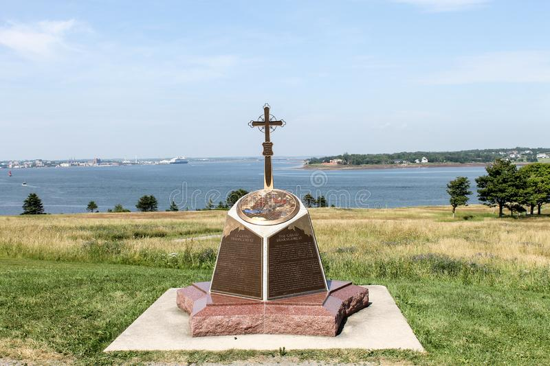 Skmaqn–Port-la-Joye–Fort Amherst National Historic Site. Elevated monument overlooking Charlottetown Harbour, Prince Edward Island. Image taken in royalty free stock photos