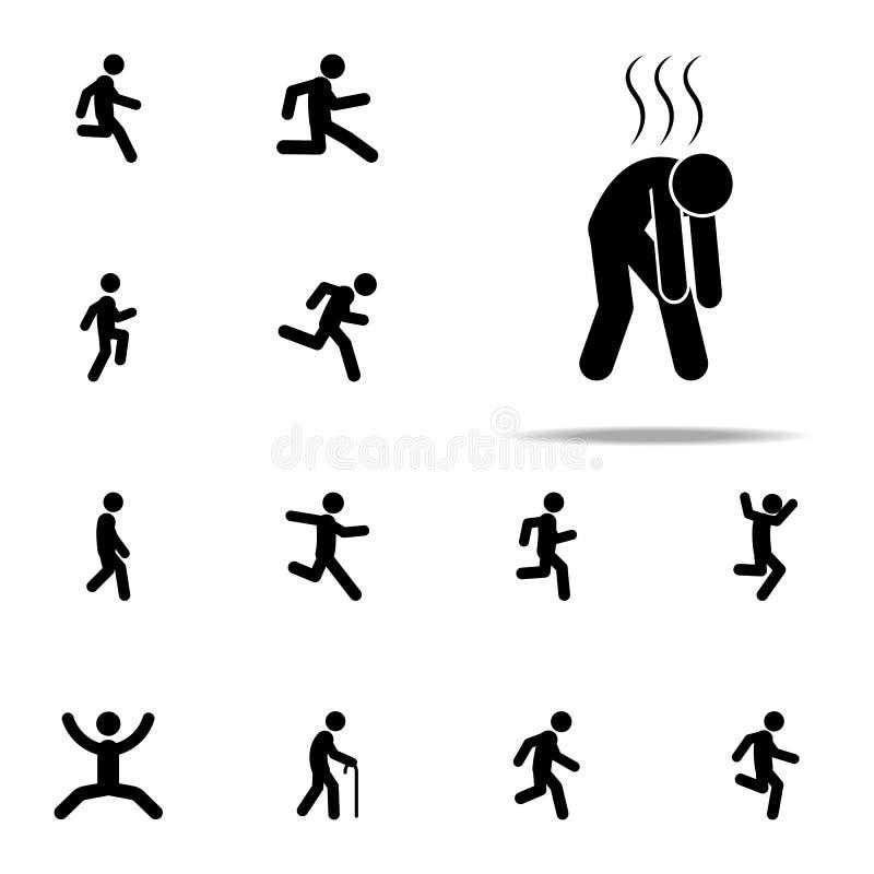 skołowany, żadny energetyczna ikona Chodzący, Biegający ludzi ikon ogólnoludzkich ustawiającego dla sieci i wiszącej ozdoby royalty ilustracja