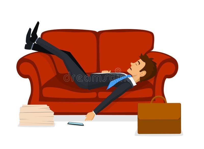 Skołowany Biurowego pracownika dosypianie na kanapie po pracy royalty ilustracja