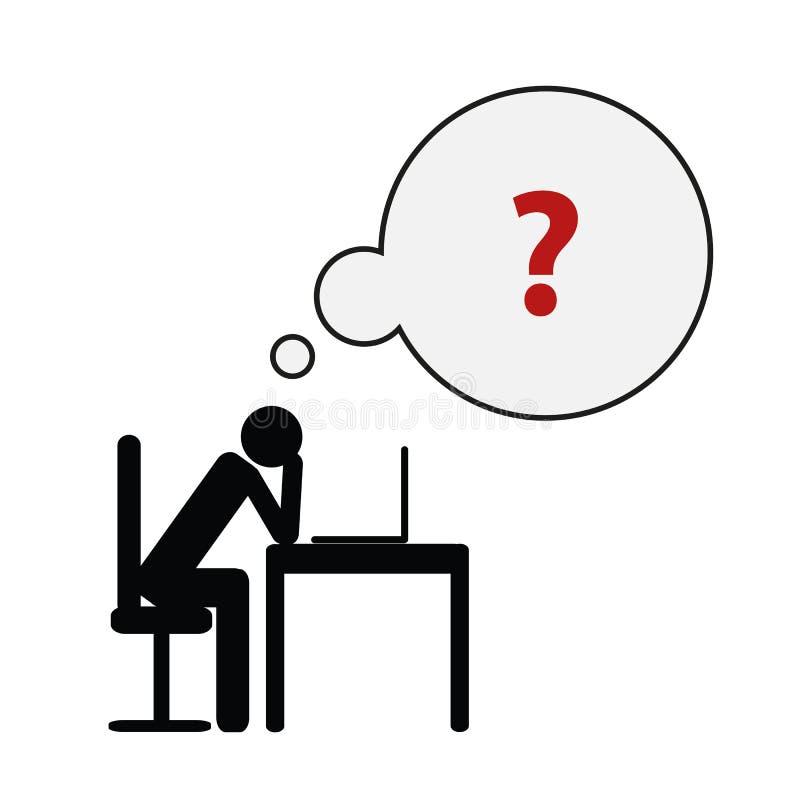 Skołowany biznesowego mężczyzna piktogram przy jego biurka pojęciem stres, burnout, migrena, depresja royalty ilustracja