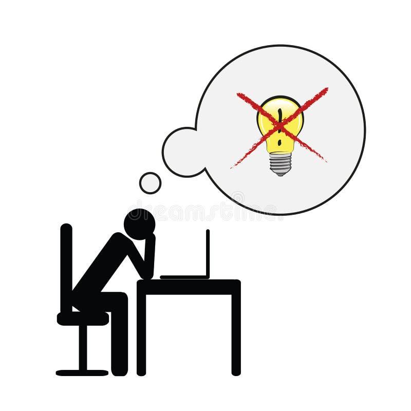 Skołowany biznesowy mężczyzna przy jego biurkiem nie mieć pojęcia piktograma pojęcie stres, burnout, migrena, depresja ilustracja wektor