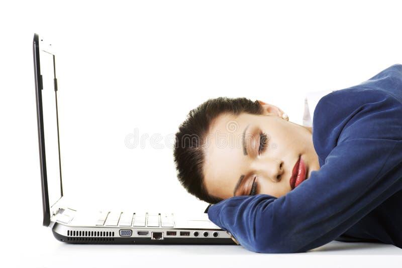 Skołowany bizneswoman jest śpi zdjęcia royalty free