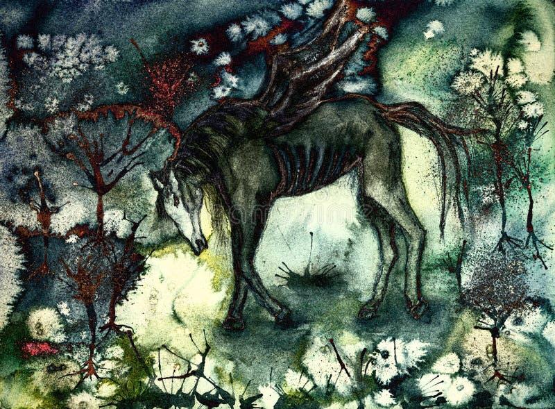 Skołowany czarny koń w desolated krajobrazie royalty ilustracja