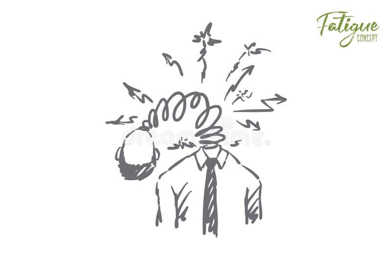 Skołowany korporacyjny urzędnik, zmęczony beztwarzowy pracownik, łamający robot, obciążenie pracą, migreny metafora royalty ilustracja