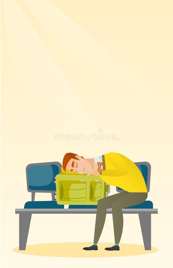 Skołowany mężczyzna dosypianie na walizce przy lotniskiem ilustracji