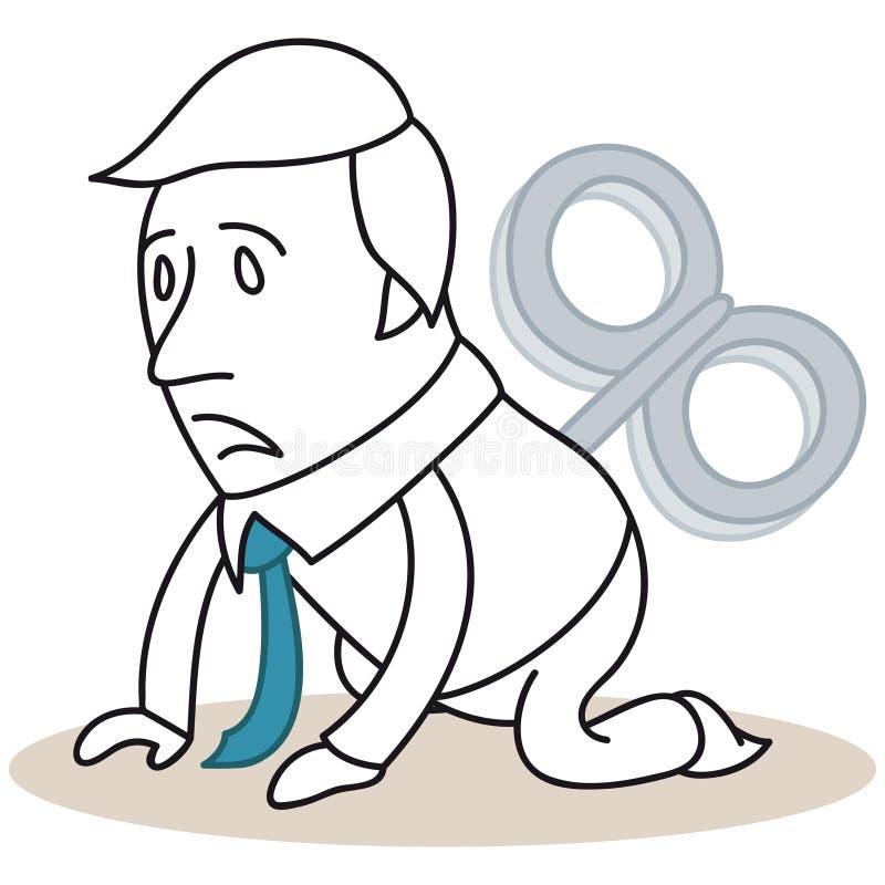 Skołowany wiatr kreskówki biznesmen royalty ilustracja