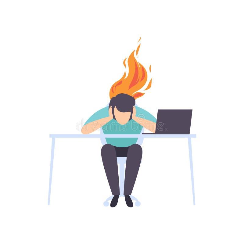 Skołowany zmęczony mężczyzny obsiadanie przy jego pracującym miejscem z komputerem w biurze, biznesmen z płonącym mózg, emocjonal ilustracja wektor