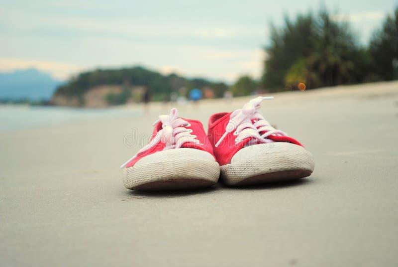 Sko på stranden royaltyfria bilder