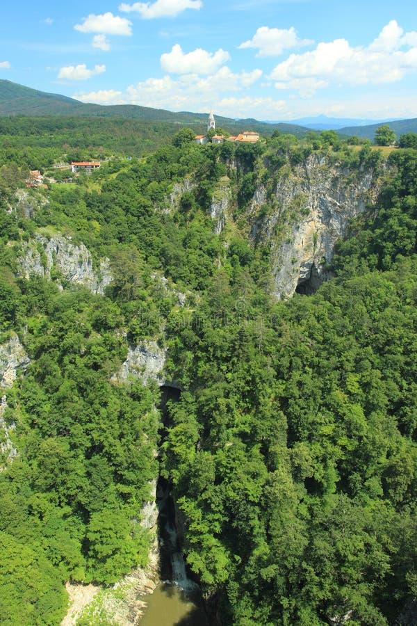 Skocjan cave system. And river Reka in Slovenia stock photo