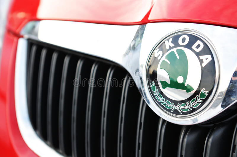 Skoda. Logo on red car stock photo