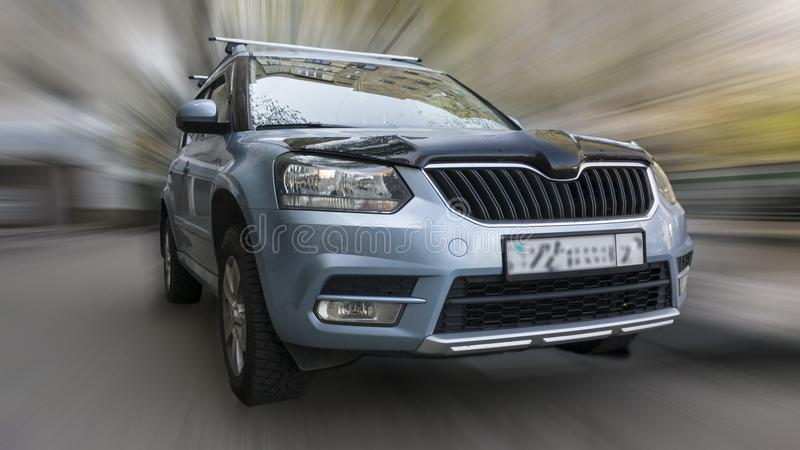 Skoda car. Skoda car on a blurred background in motion royalty free stock photography