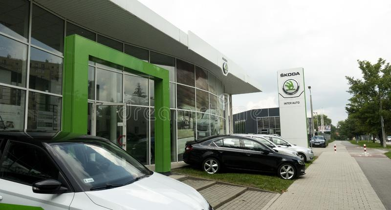 Skoda Car Dealer. The modern building of the Skoda car selling . Krakow, Kocmyrzowska - Inter Auto royalty free stock photos