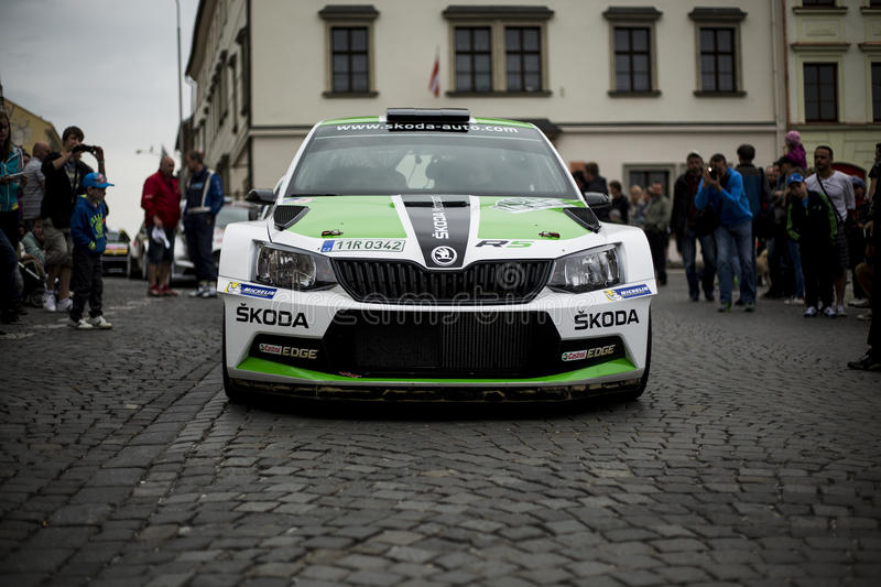 Skoda fabia R5. New skoda fabia R5 winner in rallye Klatovy Sumava 2015 stock photography