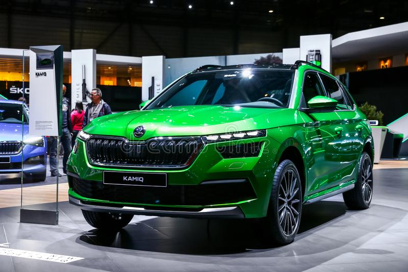 Skoda Kamiq. Geneva, Switzerland - March 10, 2019: Motor car Skoda Kamiq presented at the annual Geneva International Motor Show 2019 stock photos