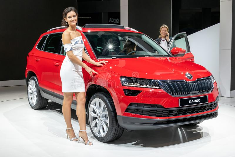 Skoda Karoq car. FRANKFURT, GERMANY - SEP 13, 2017: Skoda Karoq car presented at the Frankfurt IAA Motor Show auto automobile vehicle modern transportation type stock image