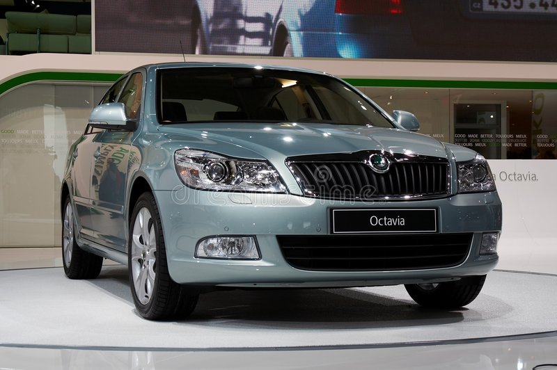 Skoda Octavia. PARIS, FRANCE - OCTOBER 02: Paris Motor Show on October 02, 2008, showing Skoda Octavia, front view stock photography