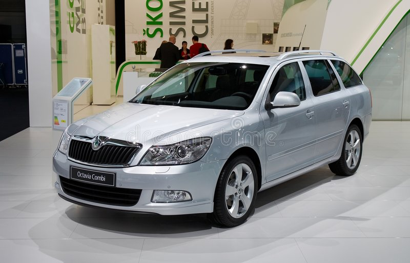 Skoda Octavia Combi. PARIS, FRANCE - OCTOBER 02: Paris Motor Show on October 02, 2008, showing Skoda Octavia Combi, front view stock photos