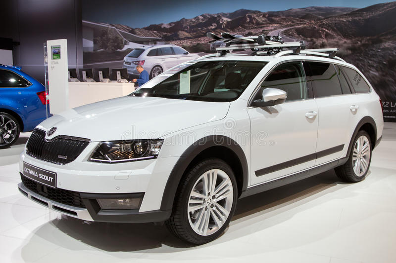 Skoda Octavia Scout. BRUSSELS - JAN 12, 2016: Skoda Octavia Scout on display at the Brussels Motor Show royalty free stock photo