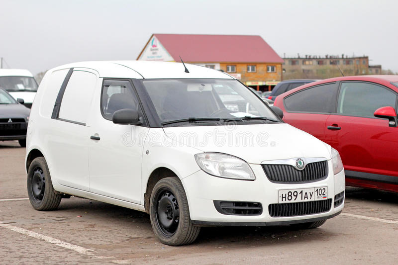 Skoda Praktik. UFA, RUSSIA - APRIL 19, 2012: White cargo van Skoda Praktik in the used cars trade center royalty free stock photography