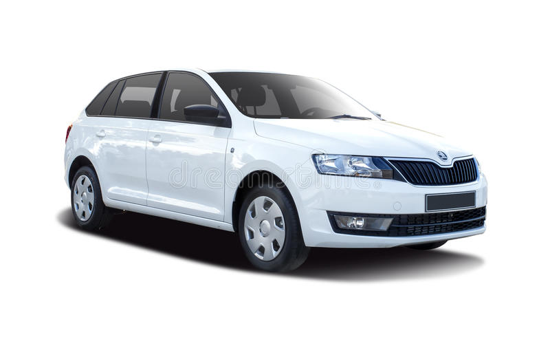 Skoda Rapid. Isolated on white royalty free stock photo