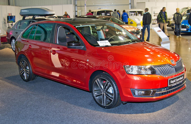 Skoda Rapid Spaceback. Tartu- September 29: Skoda Rapid Spaceback at the Tartu Motoshow on September 29, 2013 in Tartu, Estonia stock photos