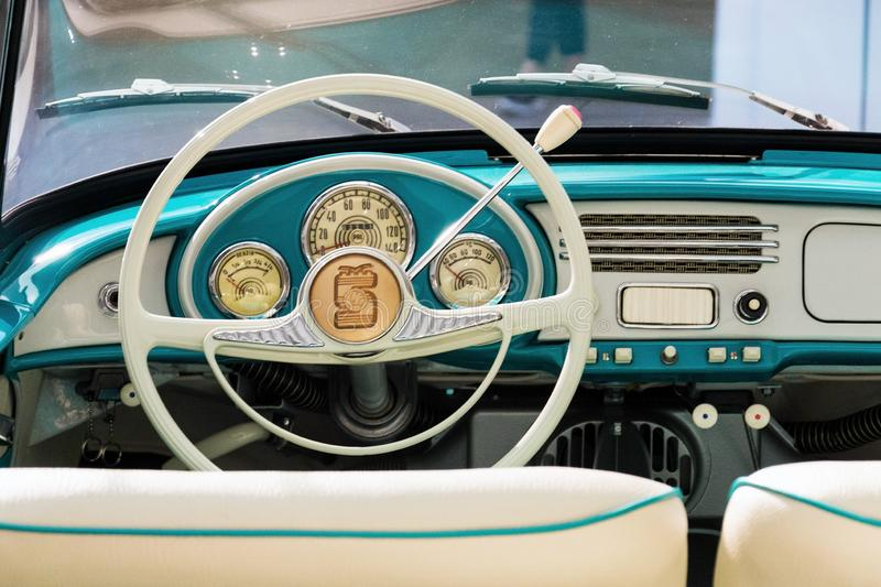 Skoda 450 roadster produced from 1957 to 1959. MLADA BOLESLAV, CZECH REPUBLIC - AUGUST 16 2019: Skoda 450 roadster produced from 1957 to 1959 white car on August royalty free stock photos