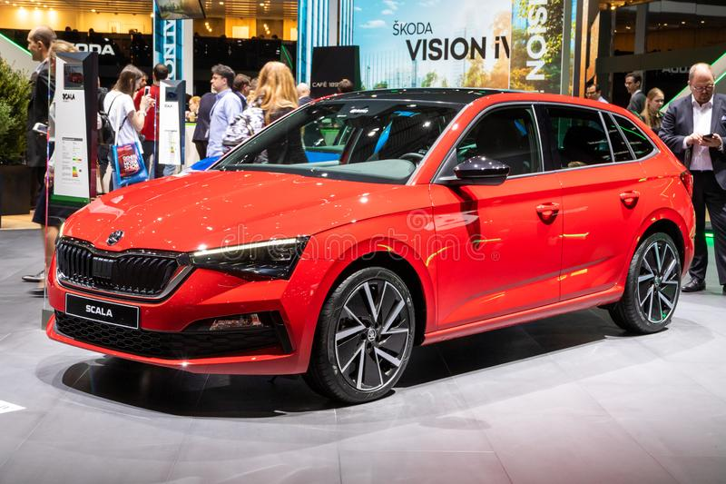 Skoda Scala car. GENEVA, SWITZERLAND - MARCH 5, 2019: Skoda Scala car showcased at the 89th Geneva International Motor Show auto automobile vehicle royalty free stock photo