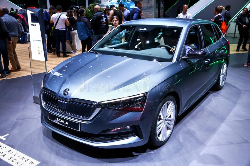 Skoda Scala. Geneva, Switzerland - March 11, 2019: Compact city hatchback Skoda Scala presented at the annual Geneva International Motor Show 2019 stock photography