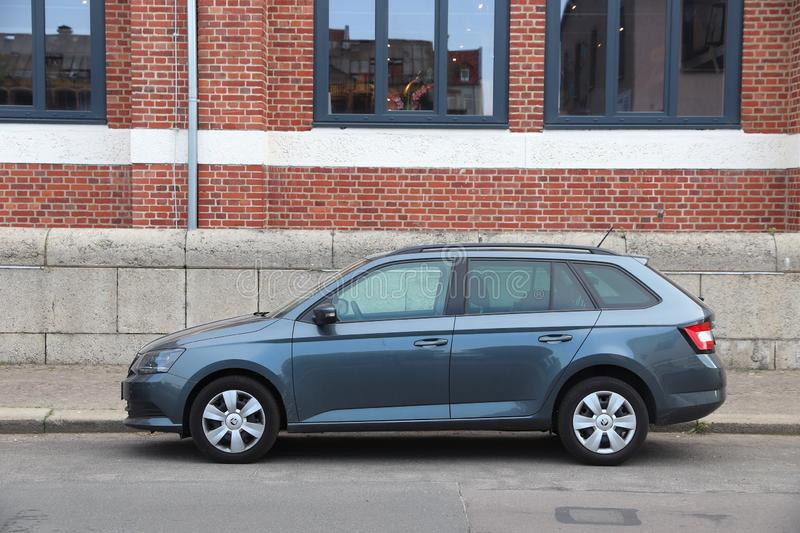 Skoda station wagon. LEIPZIG, GERMANY - MAY 9, 2018: Skoda Rapid compact station wagon car parked in Germany. There were 45.8 million cars registered in Germany stock photography