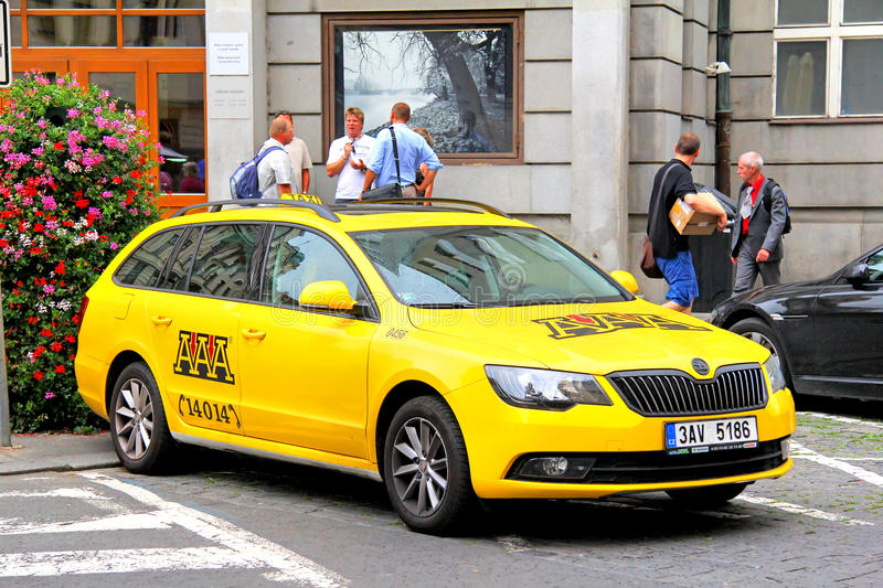 Skoda Superb. PRAGUE, CZECH REPUBLIC - JULY 21, 2014: Taxi car Skoda Superb at the city street royalty free stock image