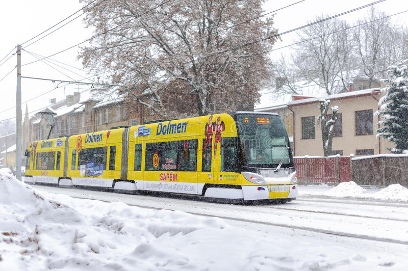 Skoda 15 T ForCity Tram at winter street of Riga town, Latvia stock image