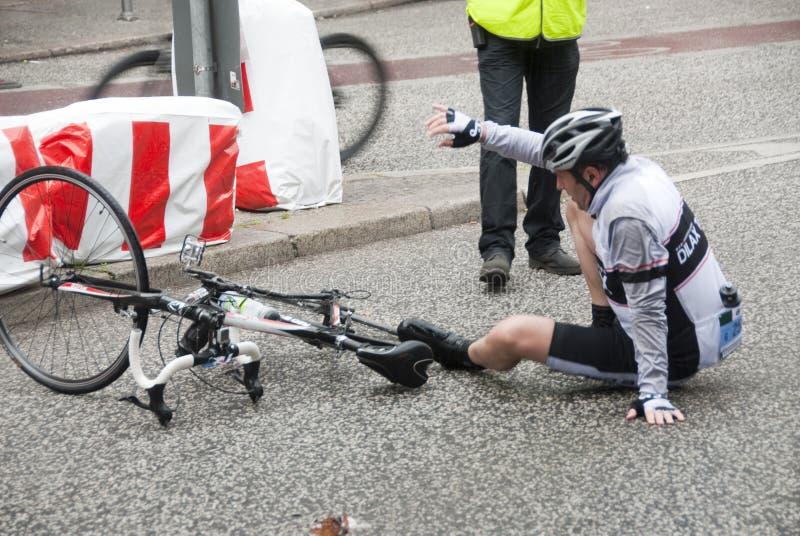 Bicycle accident - Skoda Velothon Berlin 2010 stock images