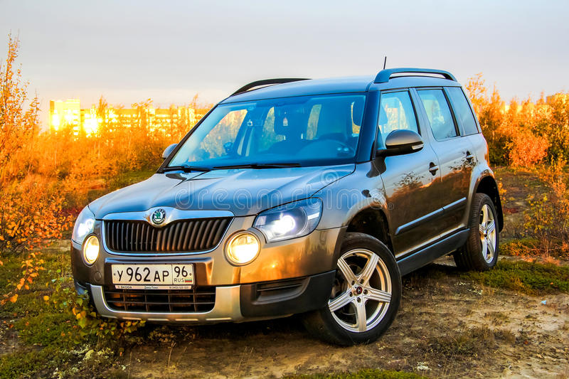 Skoda Yeti. NOVYY URENGOY, RUSSIA - AUGUST 30, 2015: Motor car Skoda Yeti at the countryside royalty free stock photo