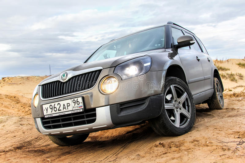 Skoda Yeti. NOVYY URENGOY, RUSSIA - SEPTEMBER 5, 2015: Motor car Skoda Yeti at the countryside stock photos