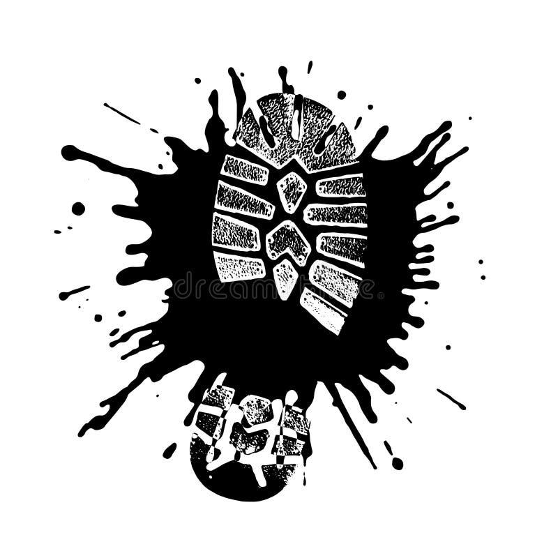 Skodontryck i en pöl i stilgrunge vektor illustrationer