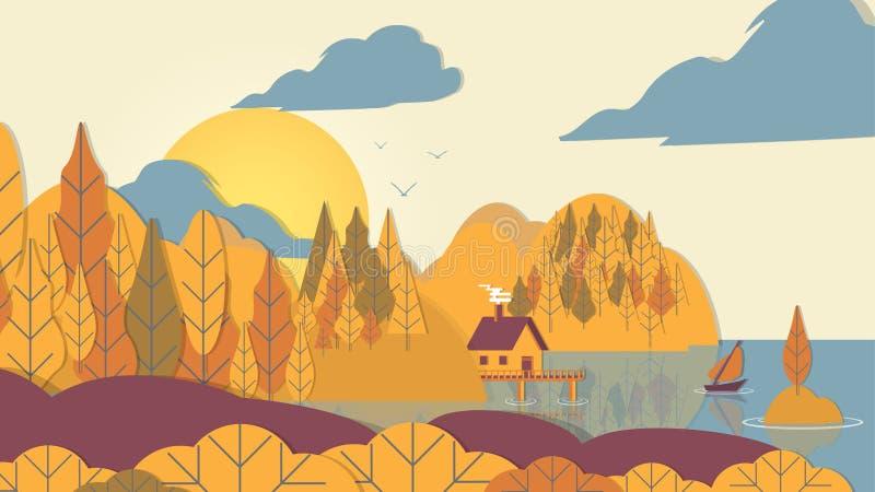 skog för Papper-snitt stilApplique med det lilla huset och fartyg på Coa royaltyfri illustrationer