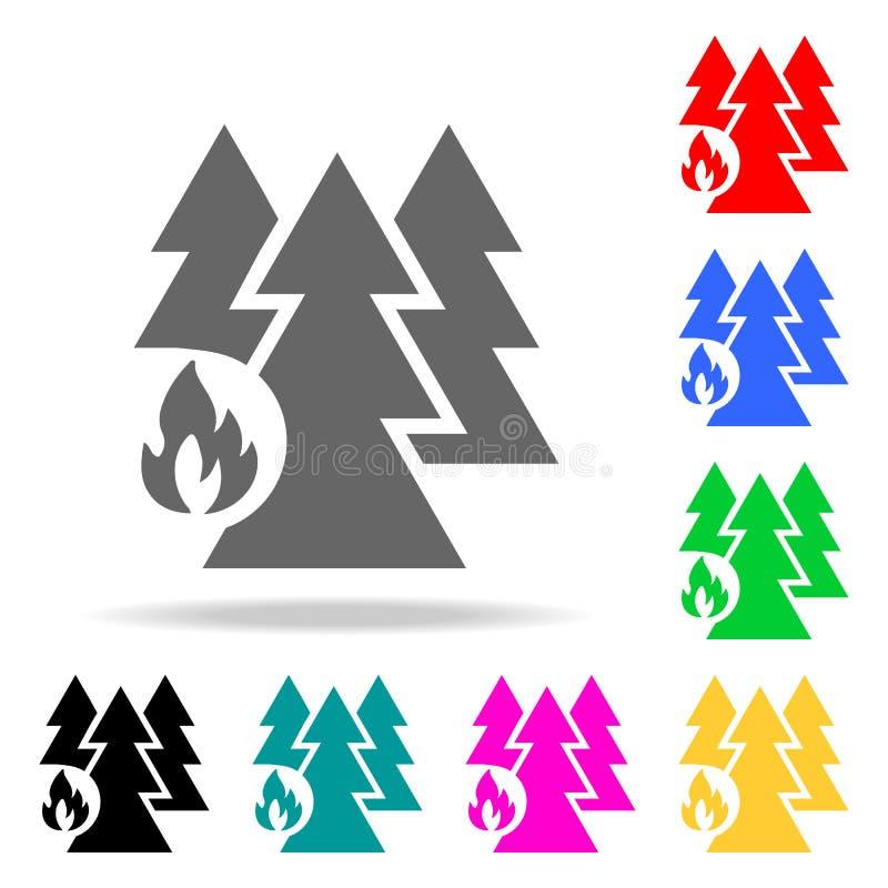 skog från brandsymbol Mång- kulöra symboler för beståndsdelbrandmän för mobila begrepps- och rengöringsdukapps symbol för website royaltyfri illustrationer