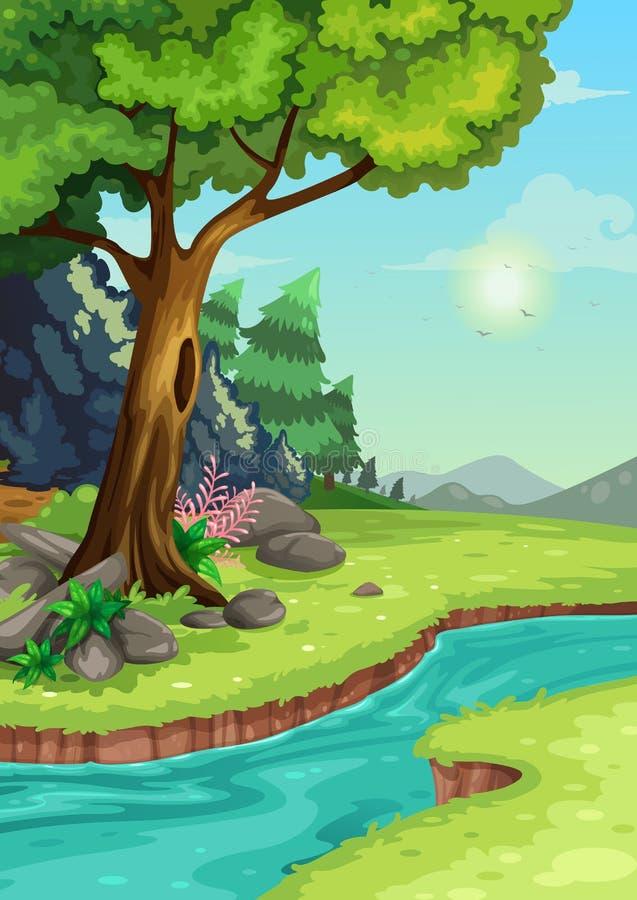 Skog med en flodbakgrund vektor illustrationer