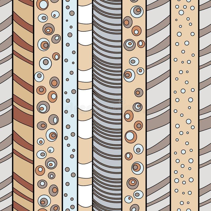 Skog och sagolika träd Sömlös randig modell med utdragen design för hand stock illustrationer