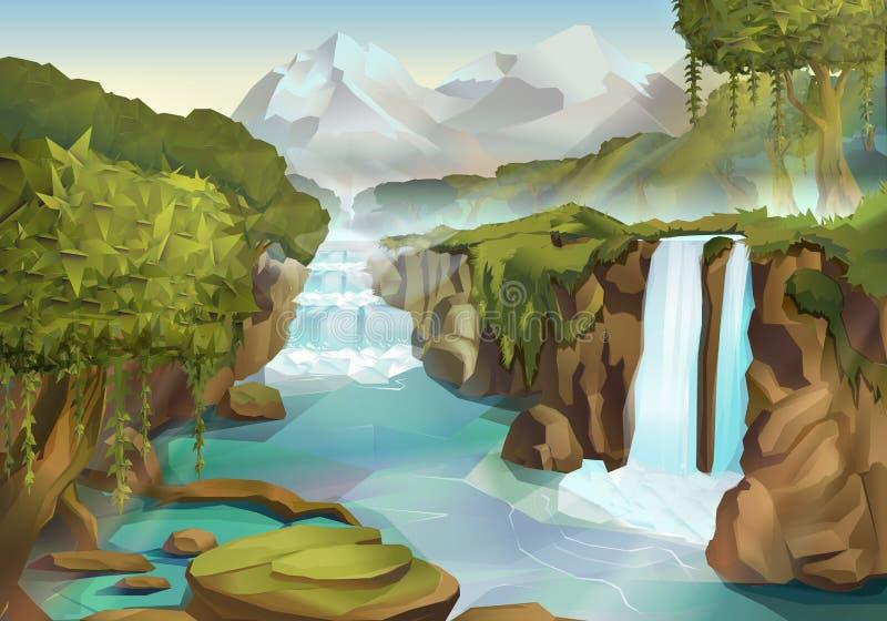 Skog- och vattenfalllandskap royaltyfri illustrationer