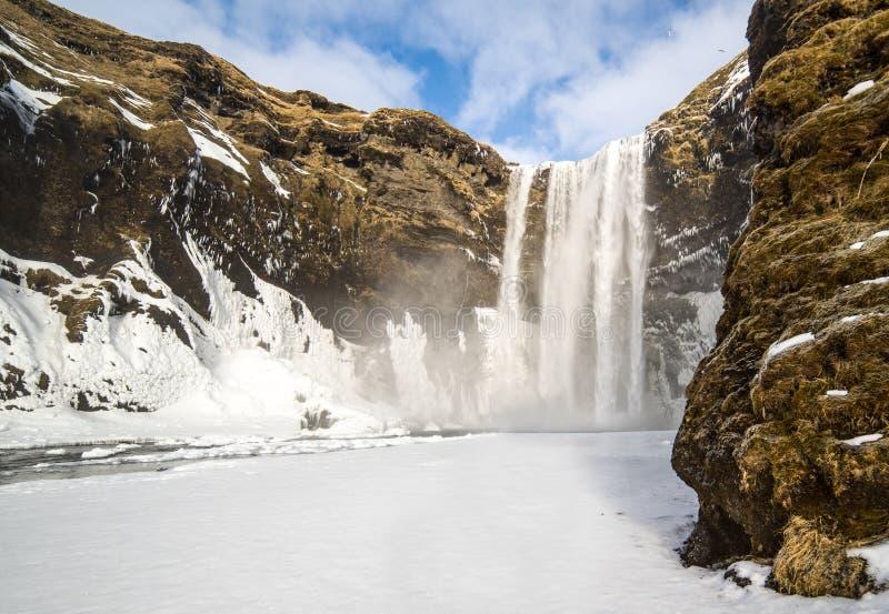 Skogafoss瀑布在南冰岛 库存照片