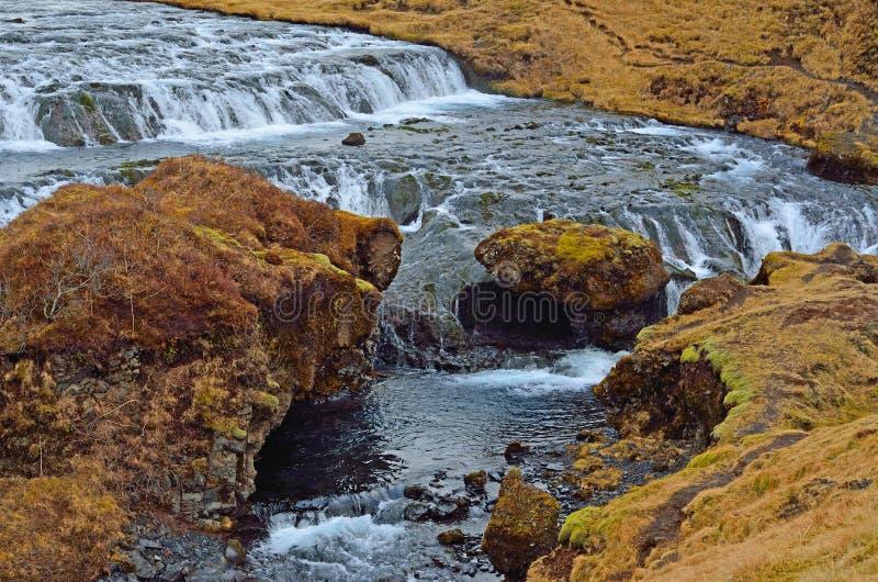 skogafoss瀑布的部分在冰岛 库存图片