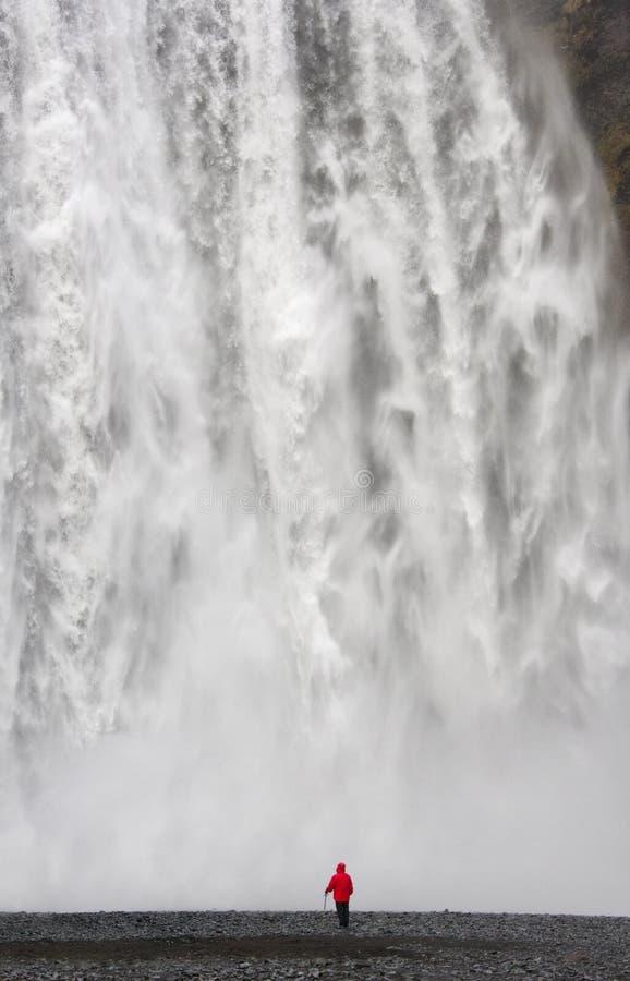 Skogafoss瀑布-冰岛 免版税图库摄影