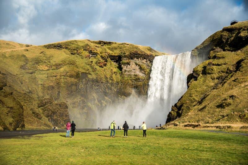 Skogafoss, όμορφος καταρράκτης στην Ισλανδία στοκ φωτογραφίες