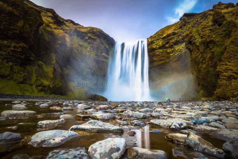 Skogafoss - May 04, 2018: The mighty Skogafoss waterfall, Iceland royalty free stock image